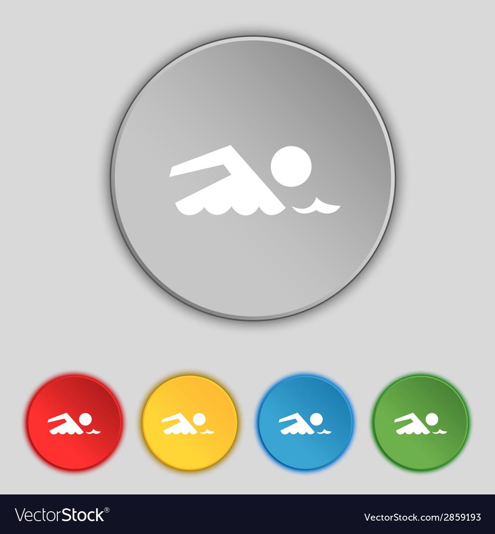 Swimming sign icon pool swim symbol sea wave set vector | Price: 1 Credit (USD $1)