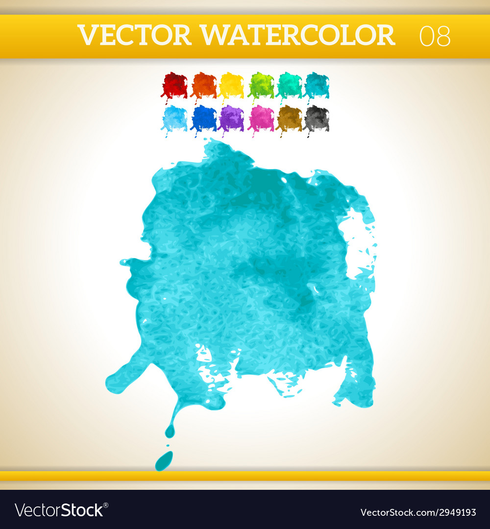 Turquoise watercolor artistic splash for design vector | Price: 1 Credit (USD $1)