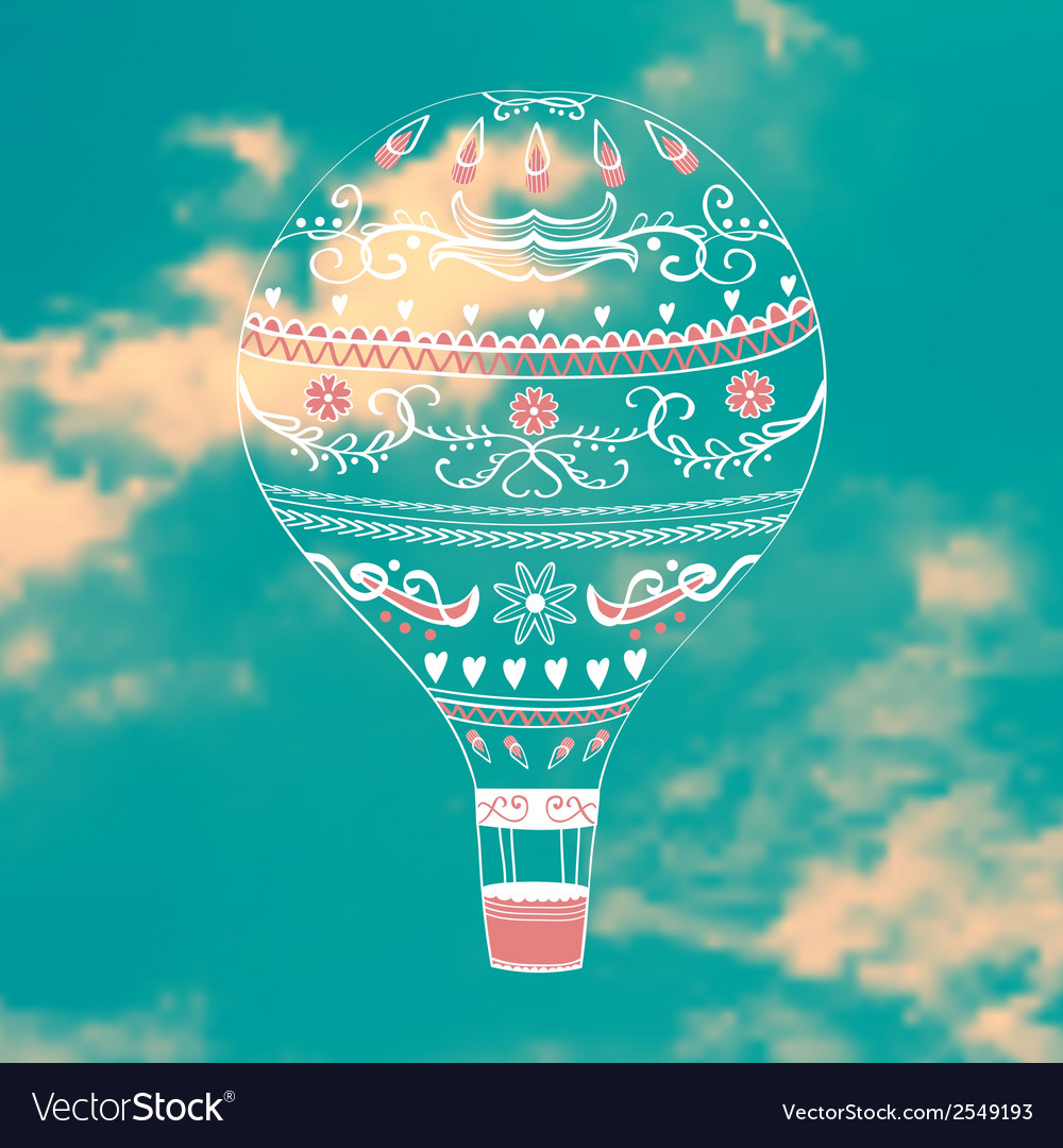 With decorative hot air ballon in blue sky vector | Price: 1 Credit (USD $1)