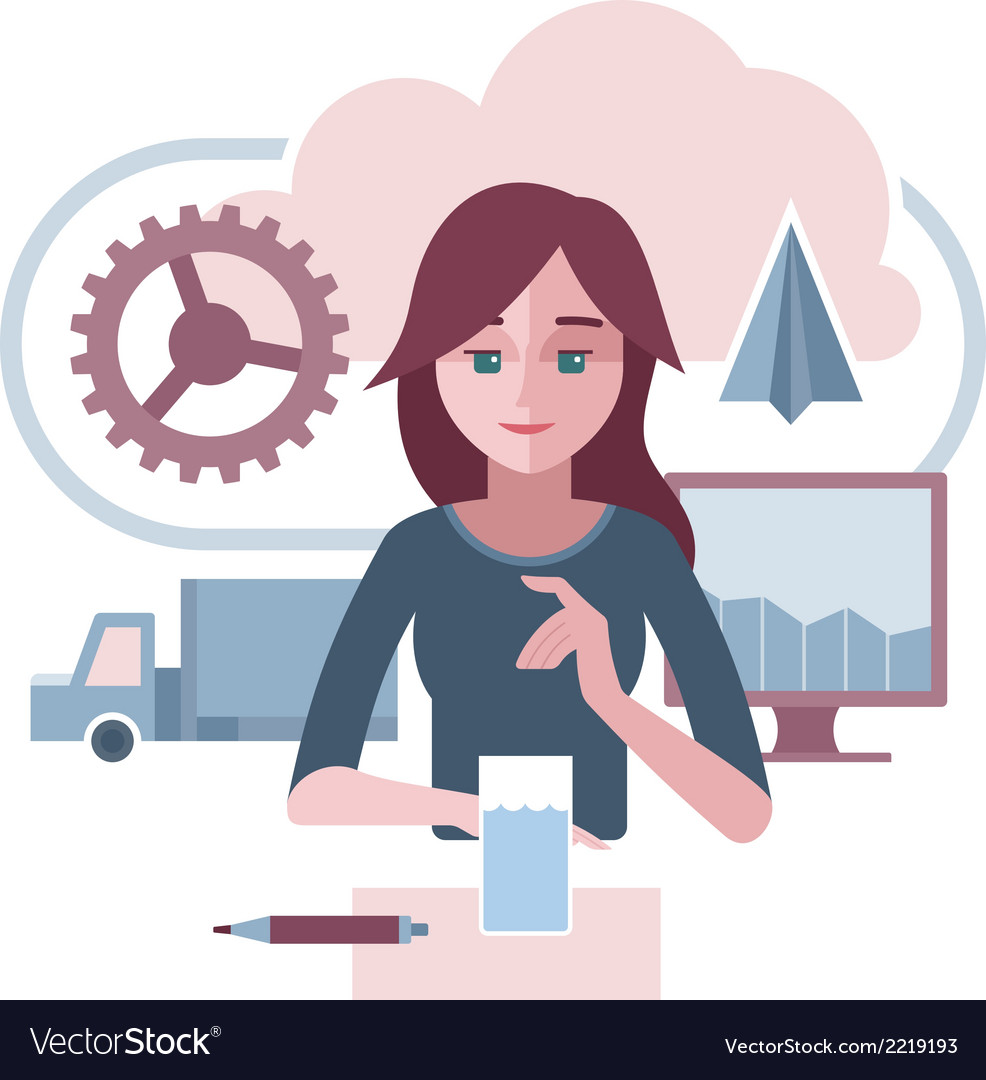 Woman is presenting an abstract corporate vector | Price: 1 Credit (USD $1)
