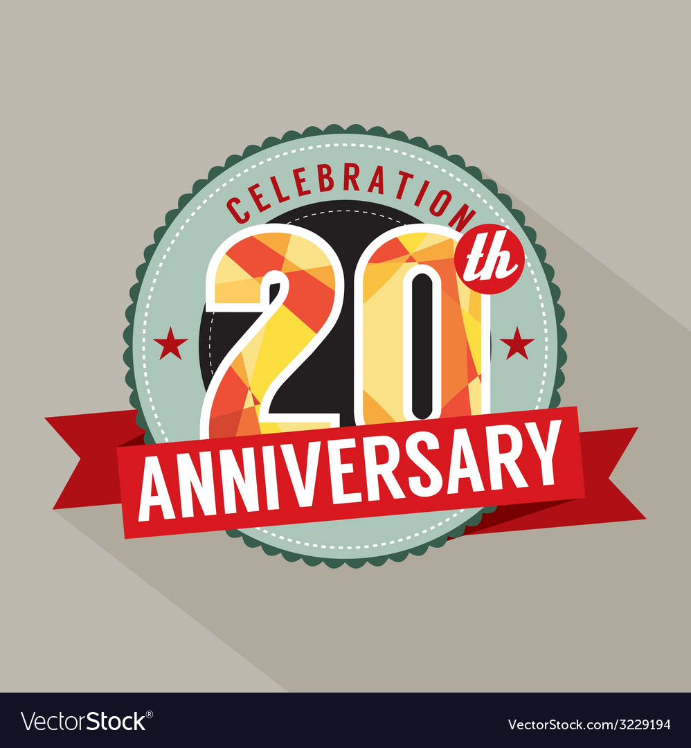 20th years anniversary celebration design vector | Price: 1 Credit (USD $1)