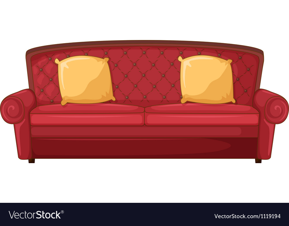 A red sofa and yellow cushions vector | Price: 1 Credit (USD $1)