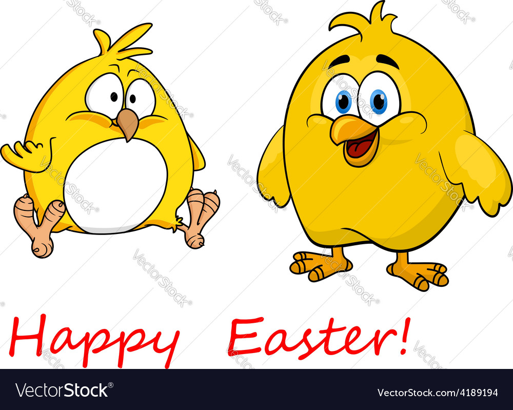 Cute little cartoon happy easter chicks vector   Price: 1 Credit (USD $1)