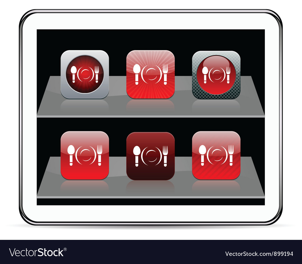 Dinner red app icons vector | Price: 1 Credit (USD $1)
