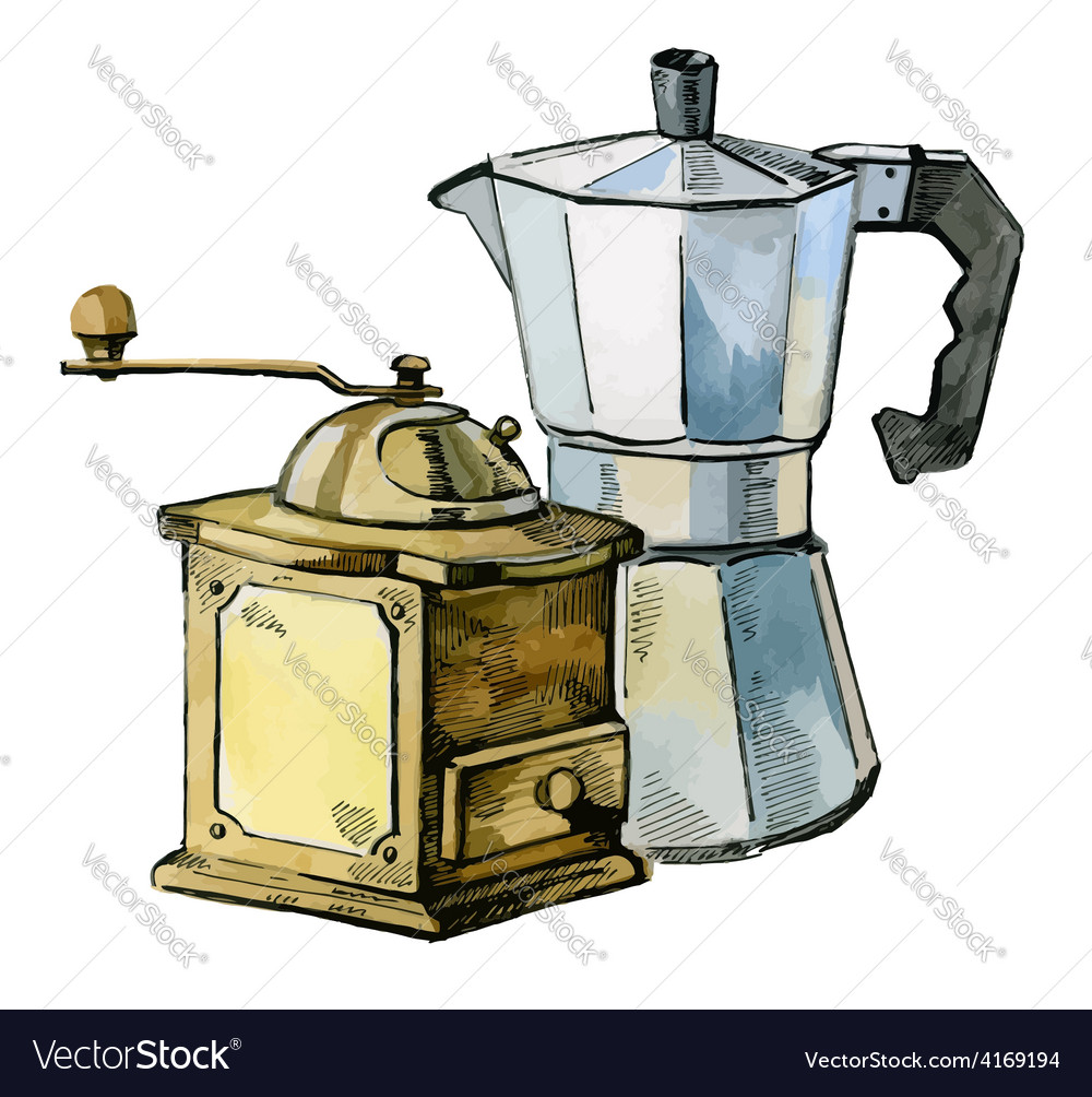 Mill and coffee maker vector | Price: 3 Credit (USD $3)