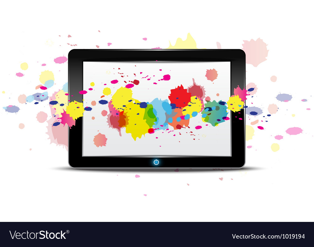 Tablet computer with color splash on screen vector | Price: 1 Credit (USD $1)