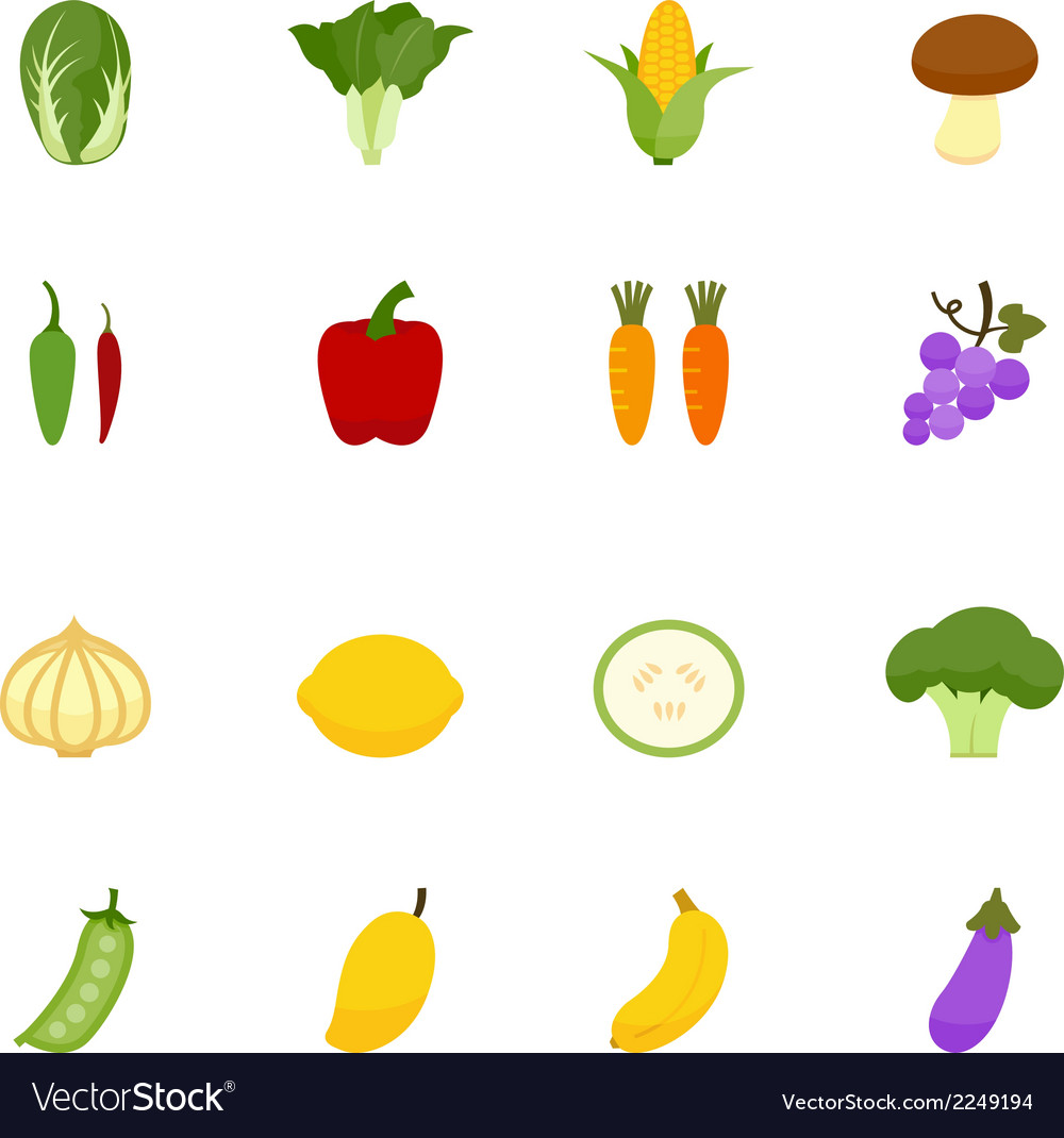 Vegetables and fruits icons vector | Price: 1 Credit (USD $1)