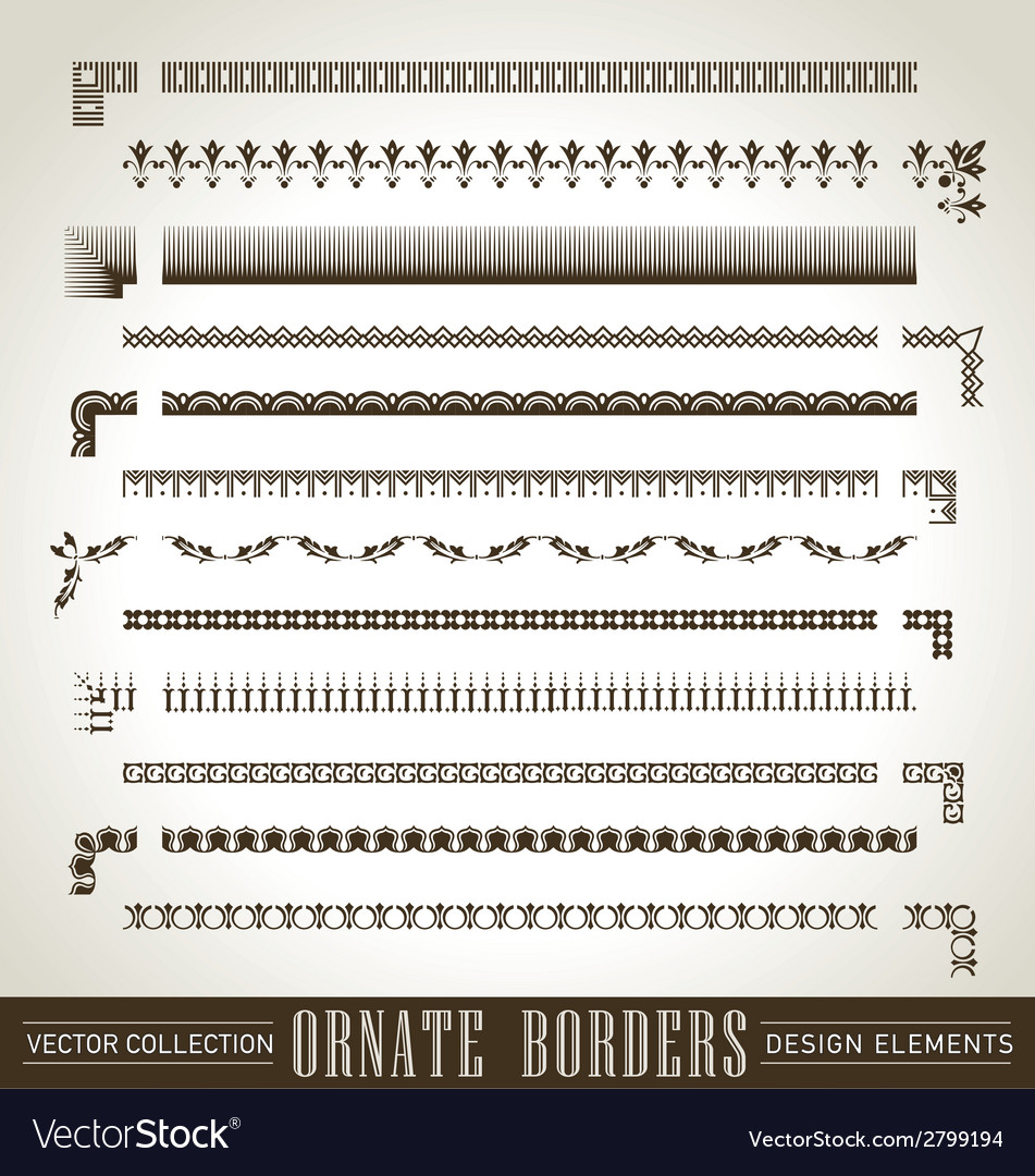 Vintage ornate borders set of 12 vector | Price: 1 Credit (USD $1)