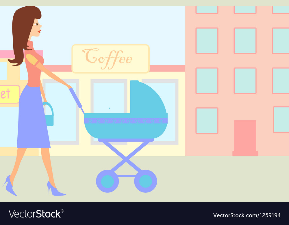 Woman walking with baby pram vector | Price: 1 Credit (USD $1)