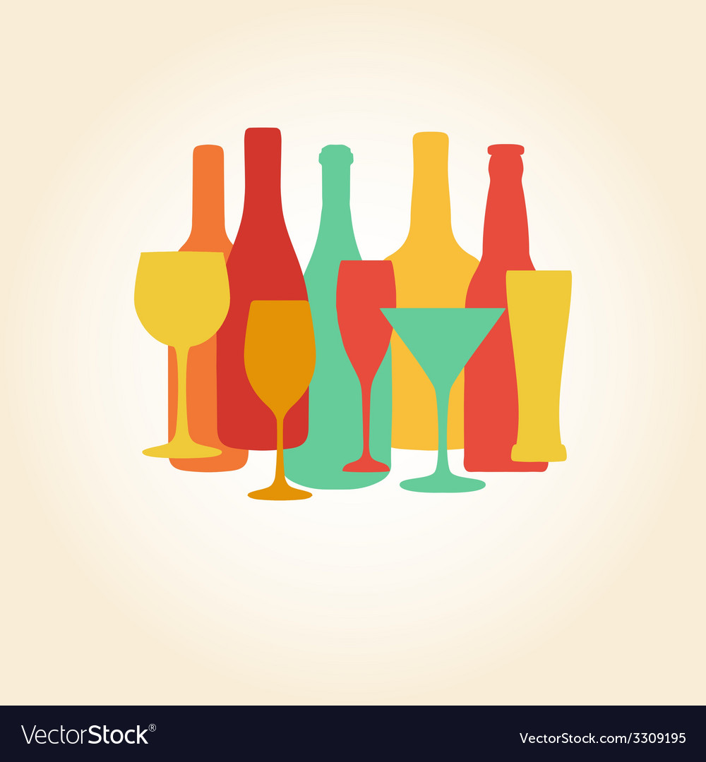 Alcohol bottles and glasses pattern beer champagne vector | Price: 1 Credit (USD $1)