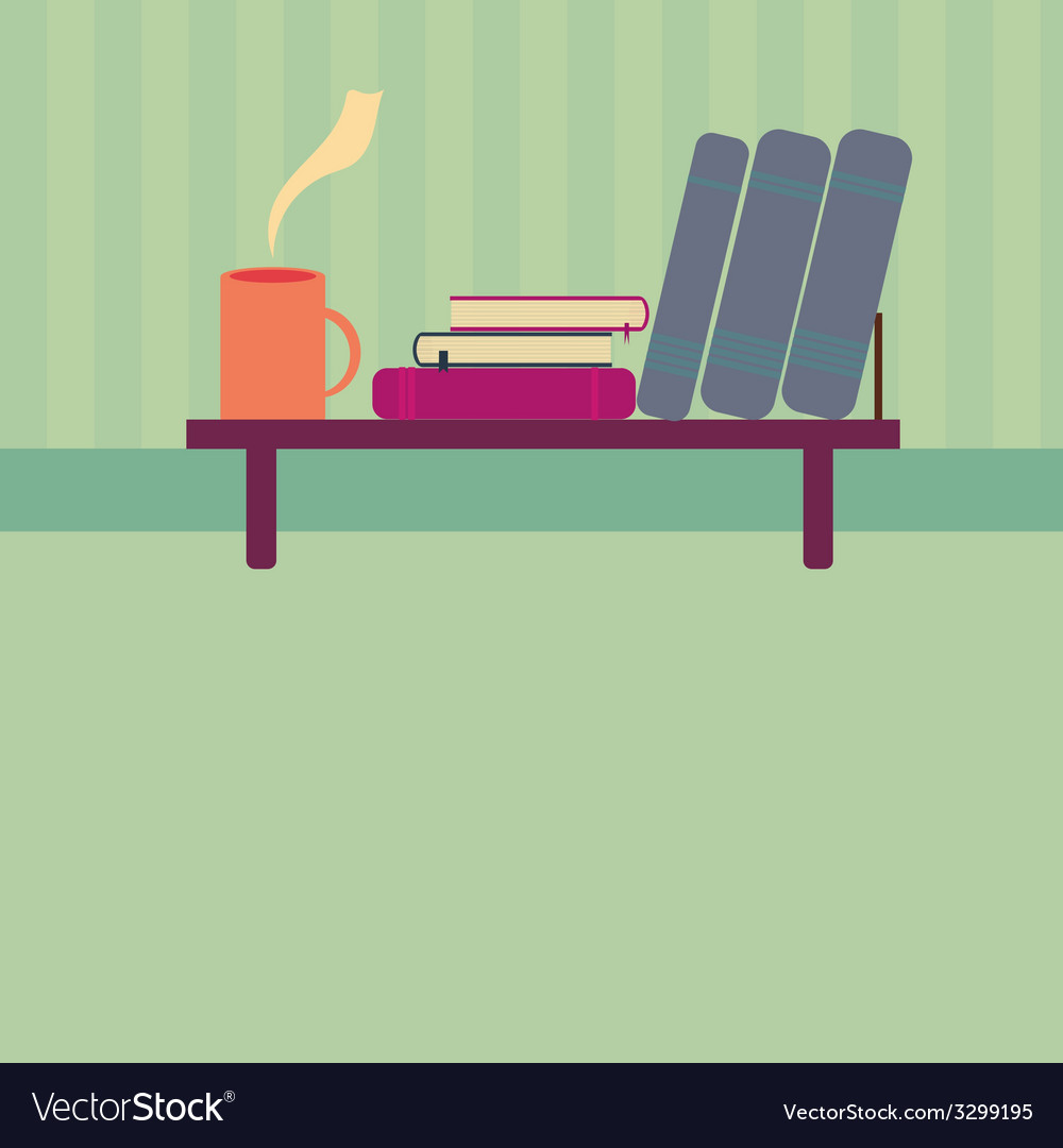Bookshelf with books and cup of tea in style flat vector | Price: 1 Credit (USD $1)