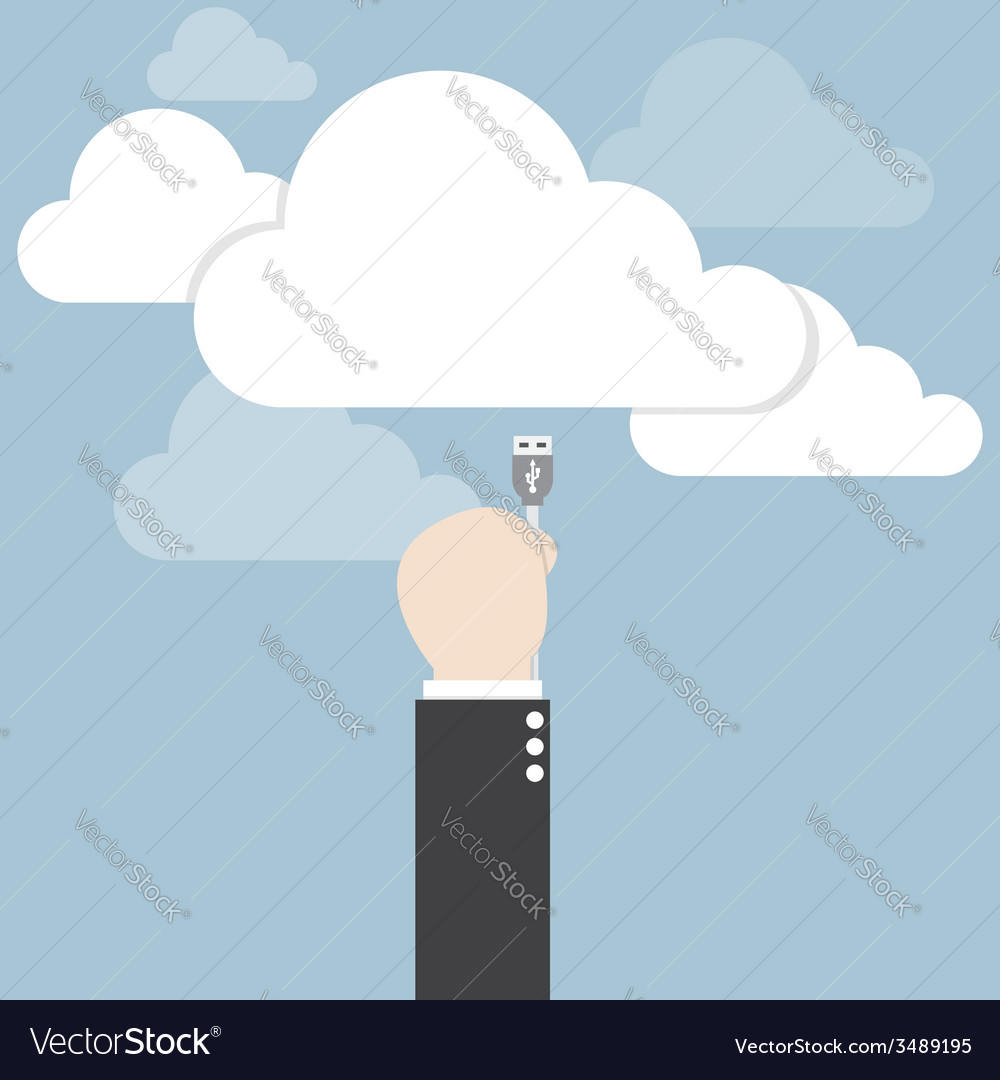 Businessman hand connecting cable to the cloud vector | Price: 1 Credit (USD $1)