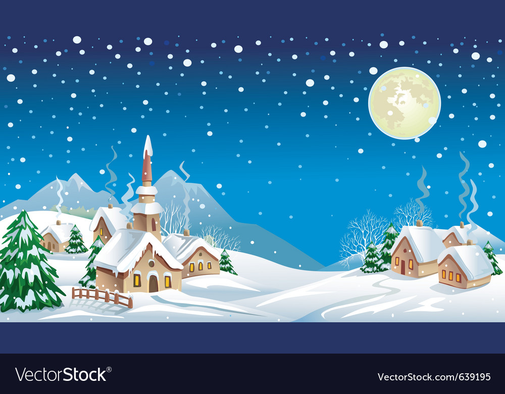 Christmas night in the village vector | Price: 1 Credit (USD $1)
