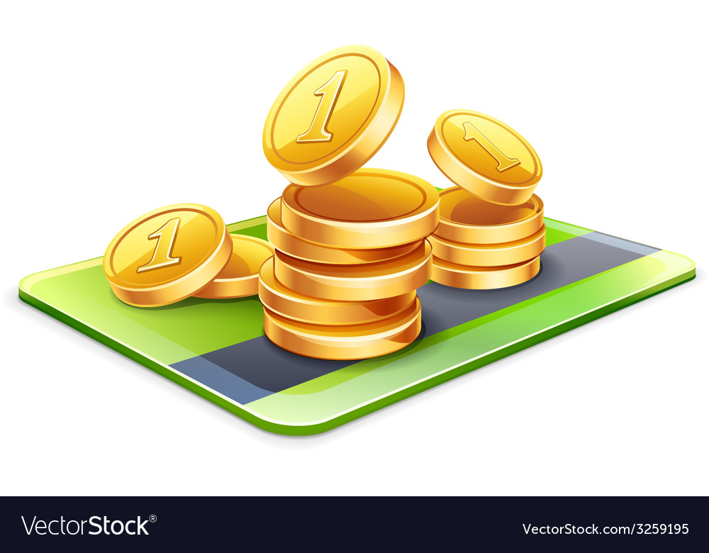 Coins with credit card vector | Price: 1 Credit (USD $1)
