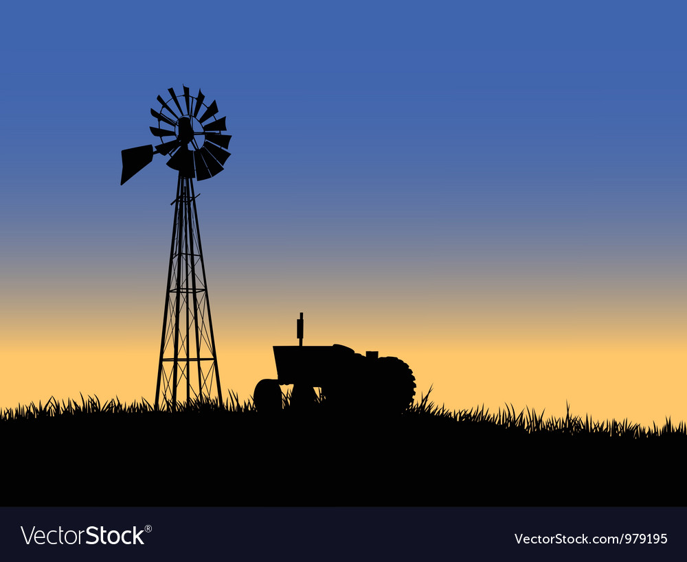 Farm tractor with windmill vector | Price: 1 Credit (USD $1)