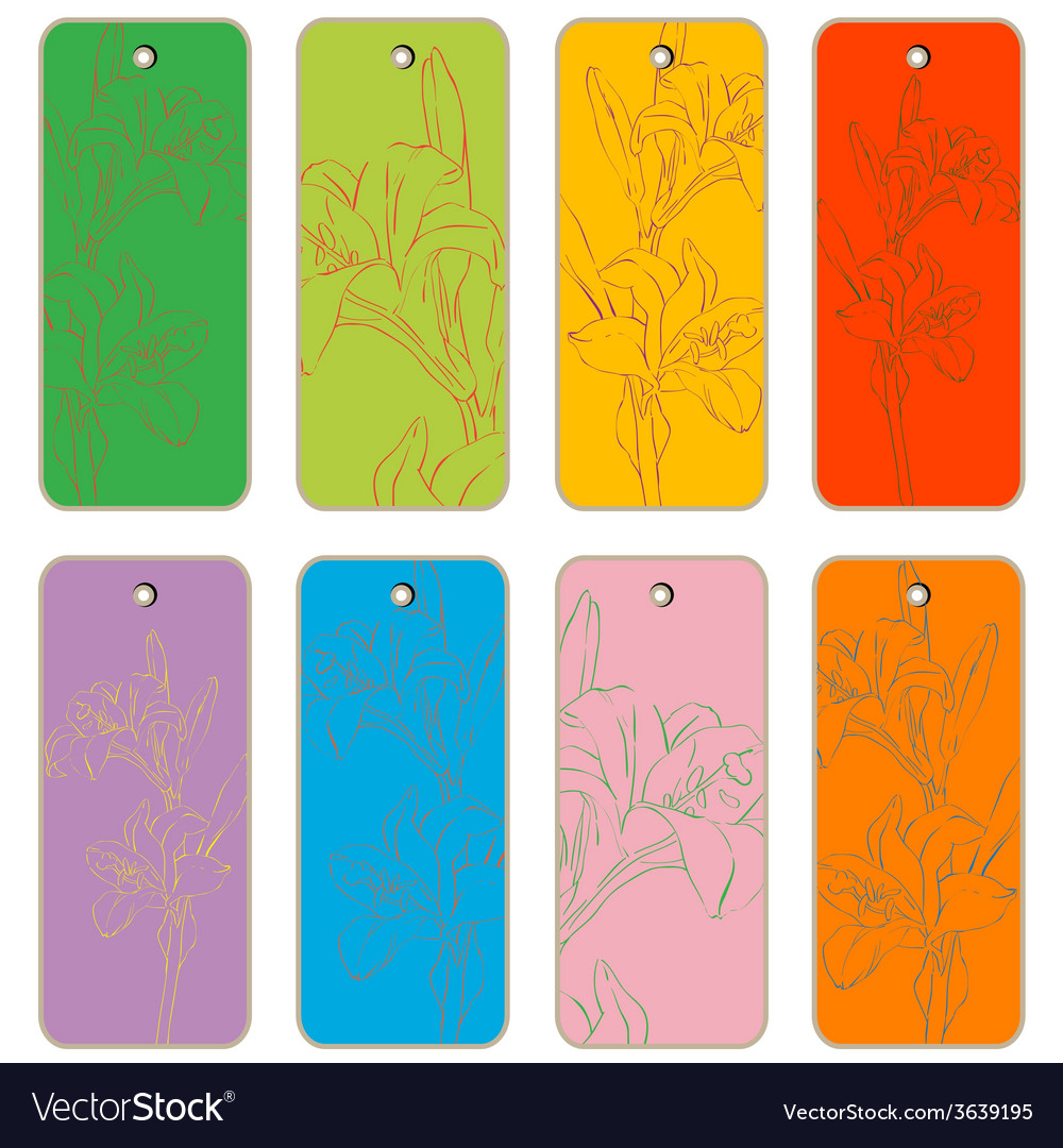 Lilies price tags vector | Price: 1 Credit (USD $1)