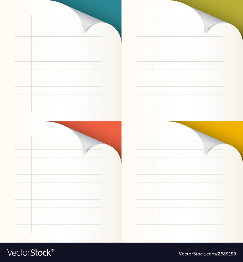 Lined papers set with bent corners - vector | Price: 1 Credit (USD $1)