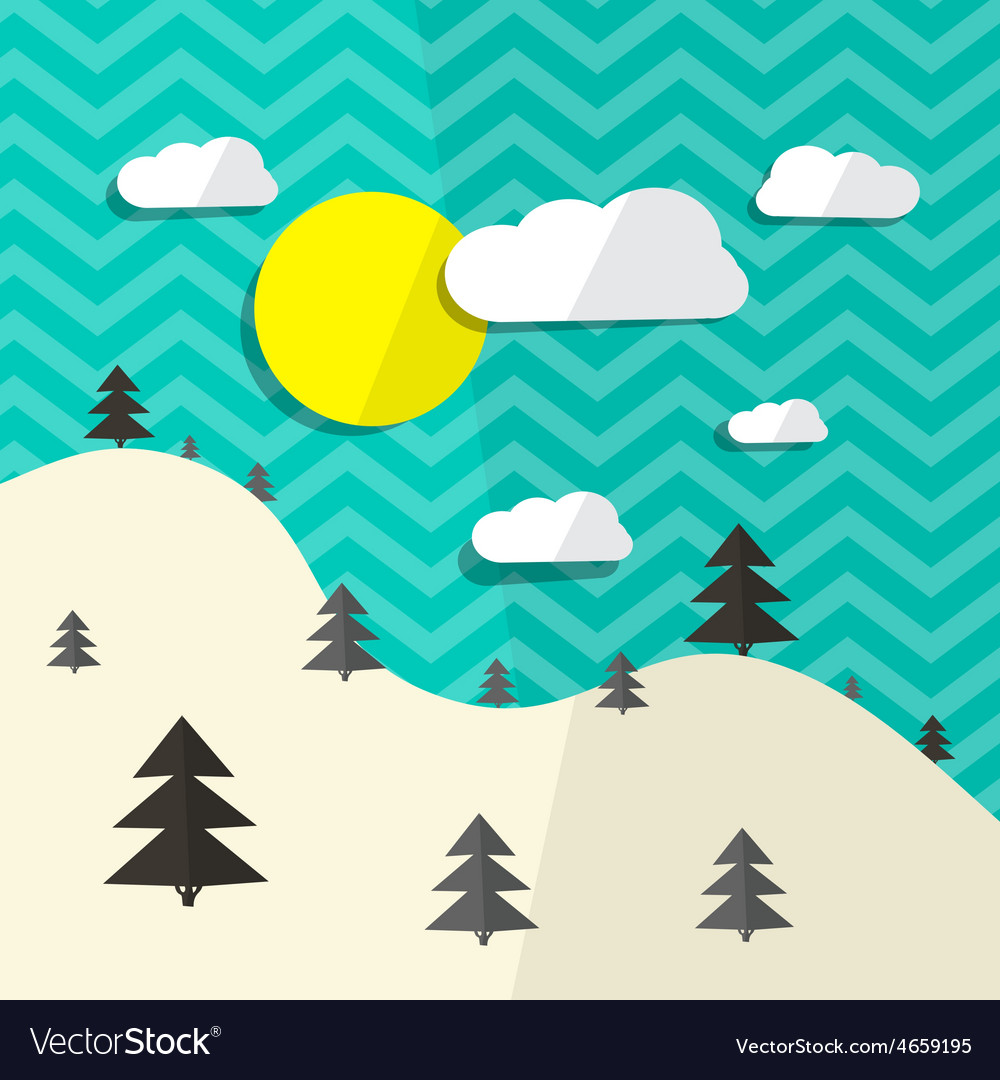 Retro flat design landscape with hills and t vector | Price: 1 Credit (USD $1)