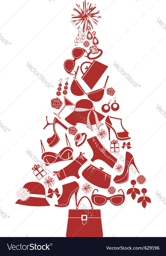 Christmas tree female gifts vector | Price: 1 Credit (USD $1)