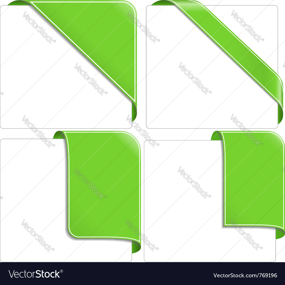 Green corner ribbons vector | Price: 1 Credit (USD $1)
