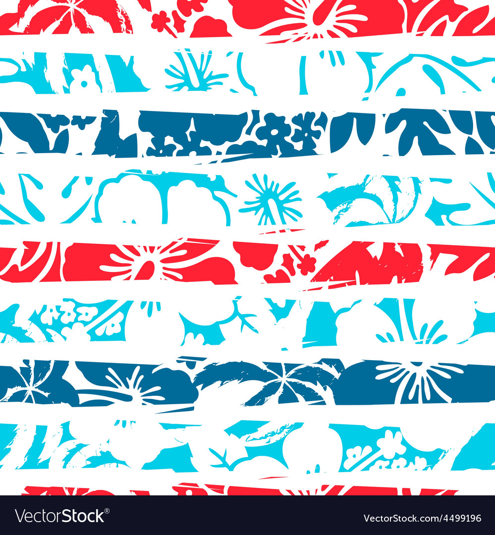 Hibiscus tropical stripe seamless pattern vector