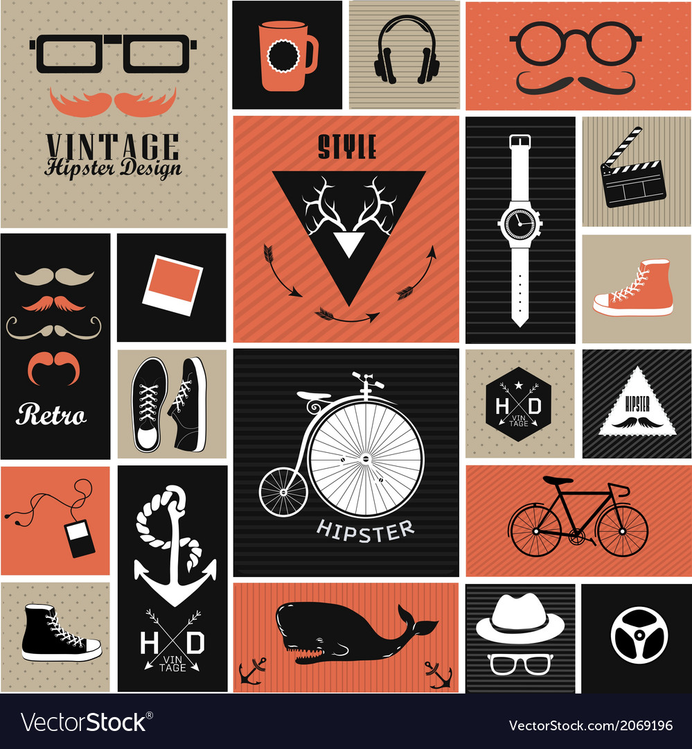 Hipster style elements and icons vector | Price: 1 Credit (USD $1)