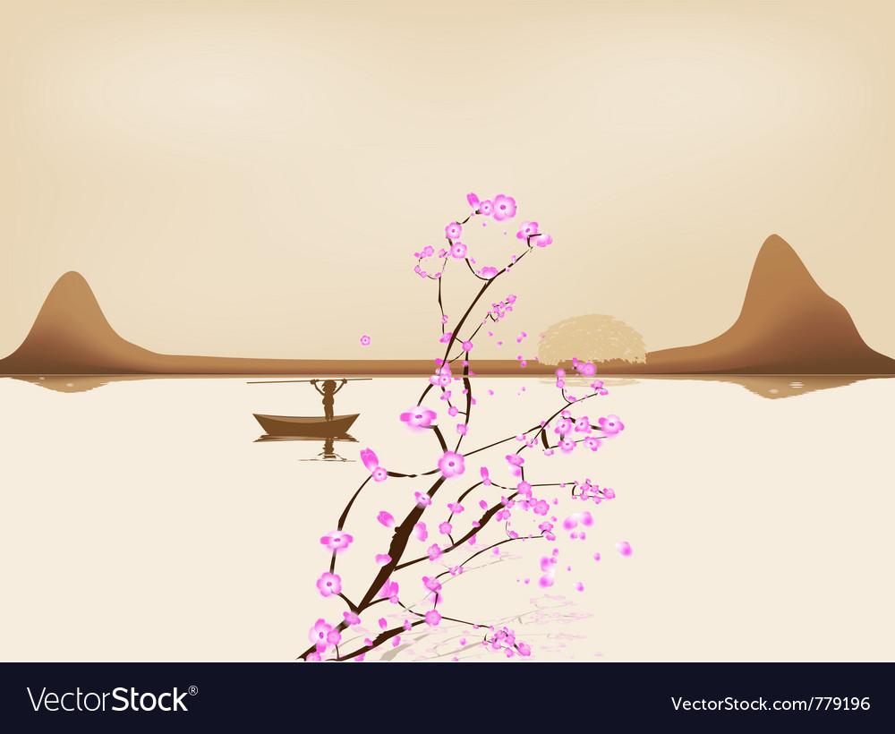 Lake china landscape and sacura vector | Price: 1 Credit (USD $1)