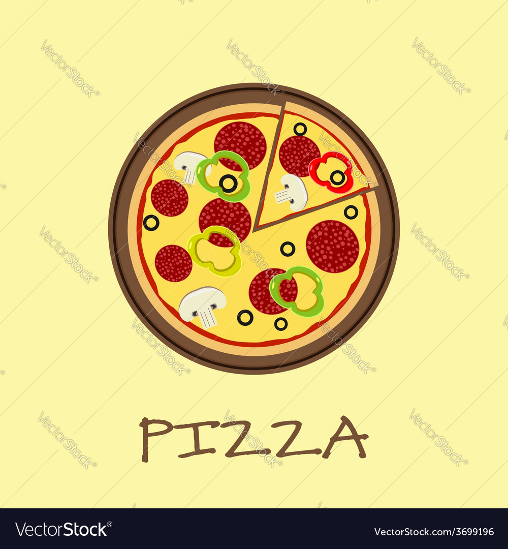 Pizza on the wooden board vector | Price: 1 Credit (USD $1)