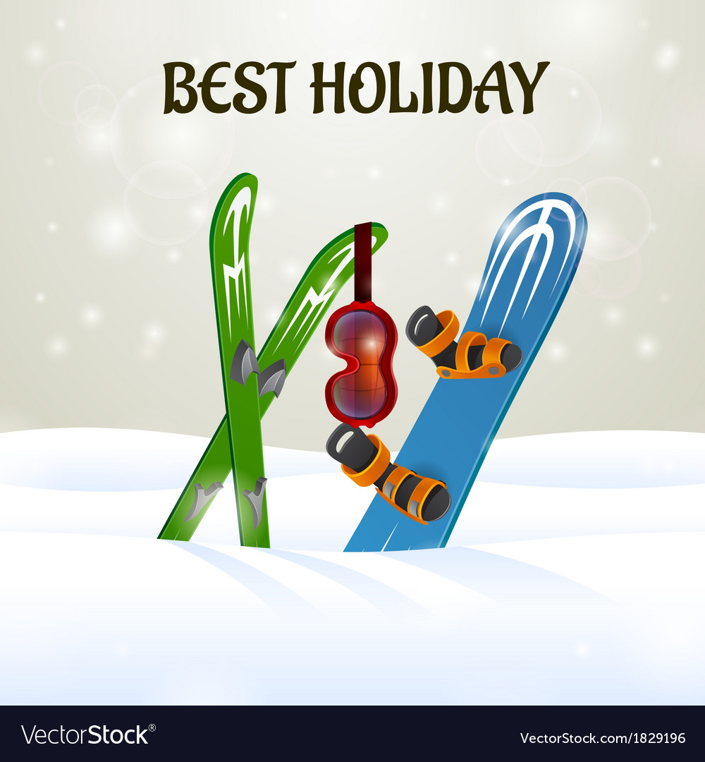 Skiing with ski goggles and snowboard on snow vector | Price: 1 Credit (USD $1)