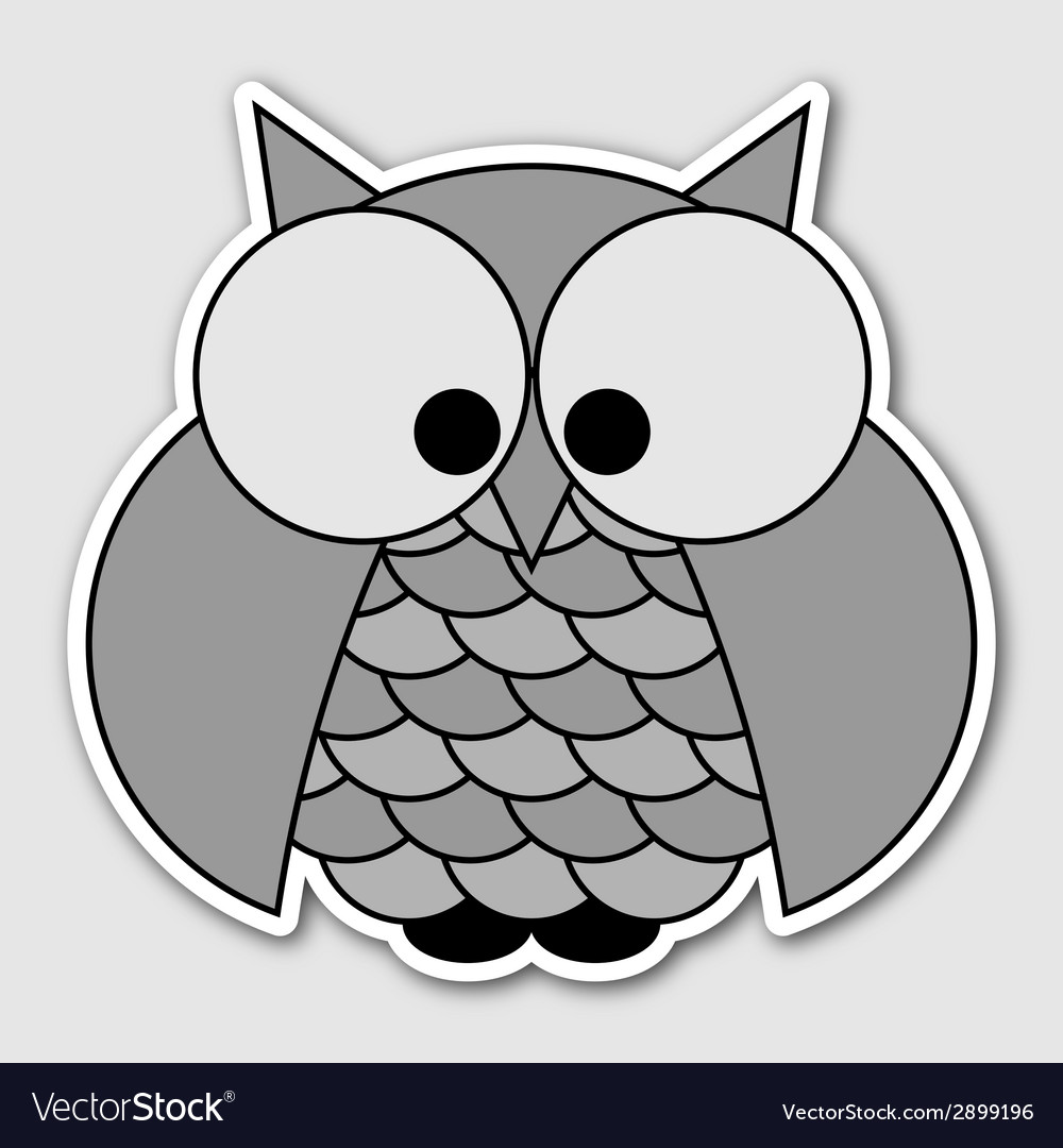 Sticker - cute owl with big squinting eyes vector   Price: 1 Credit (USD $1)