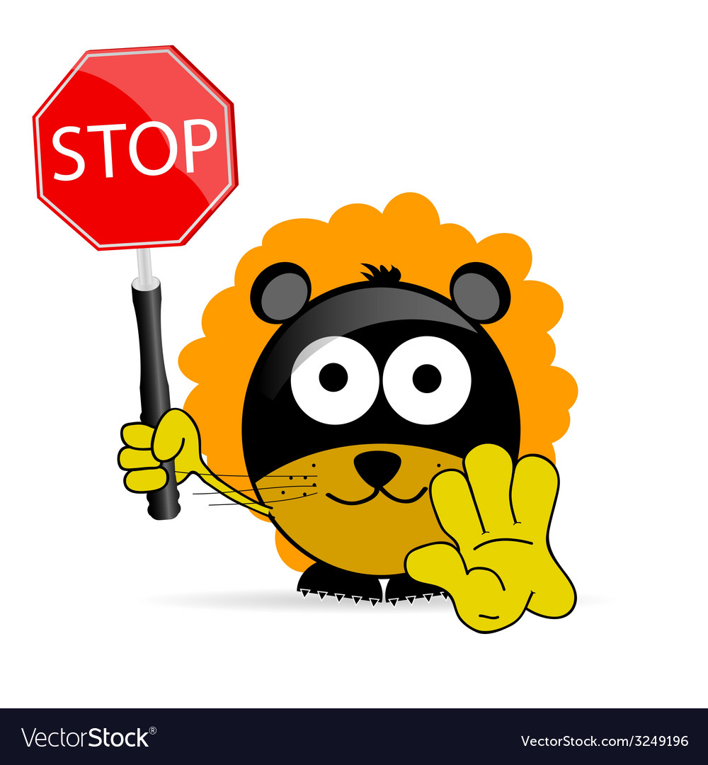 Sweet and cute lion with sign stop vector | Price: 1 Credit (USD $1)