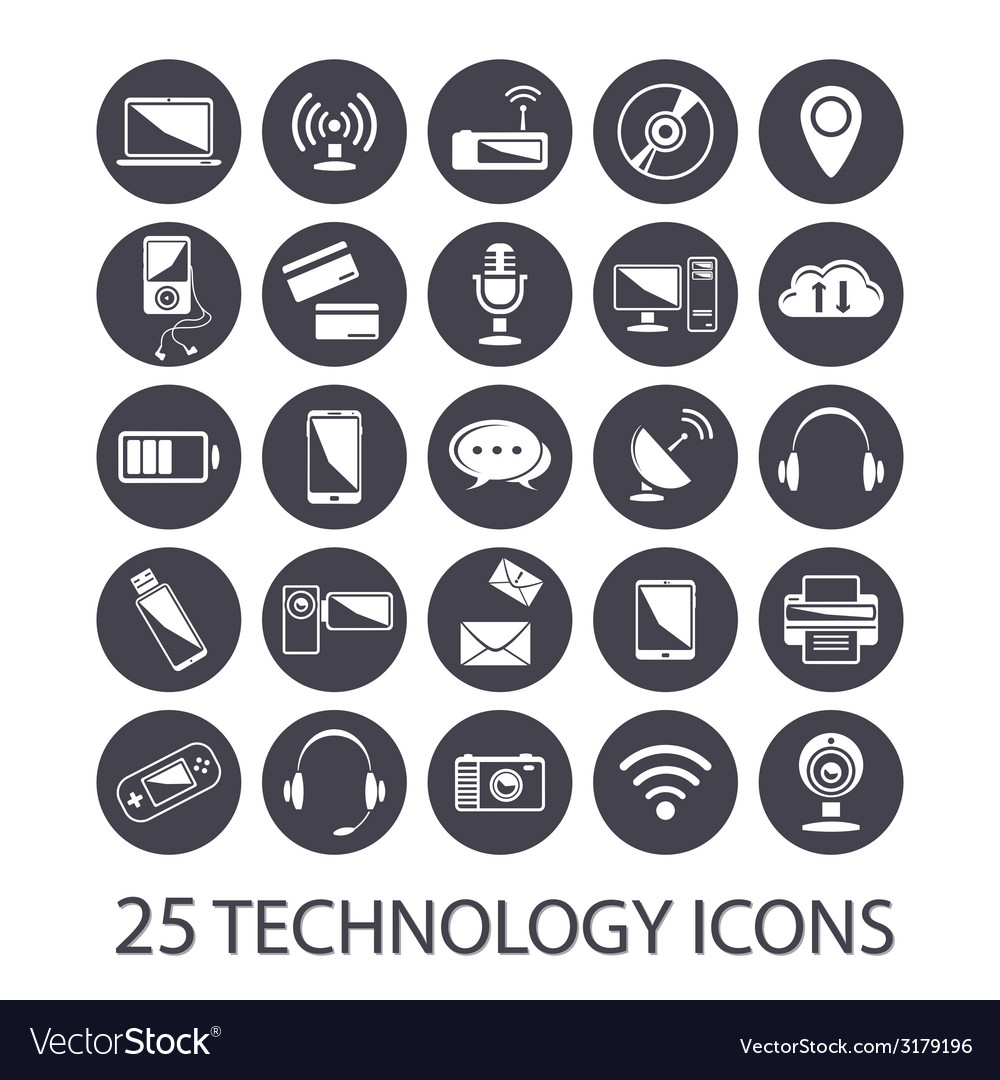 Technology icons set vector | Price: 1 Credit (USD $1)
