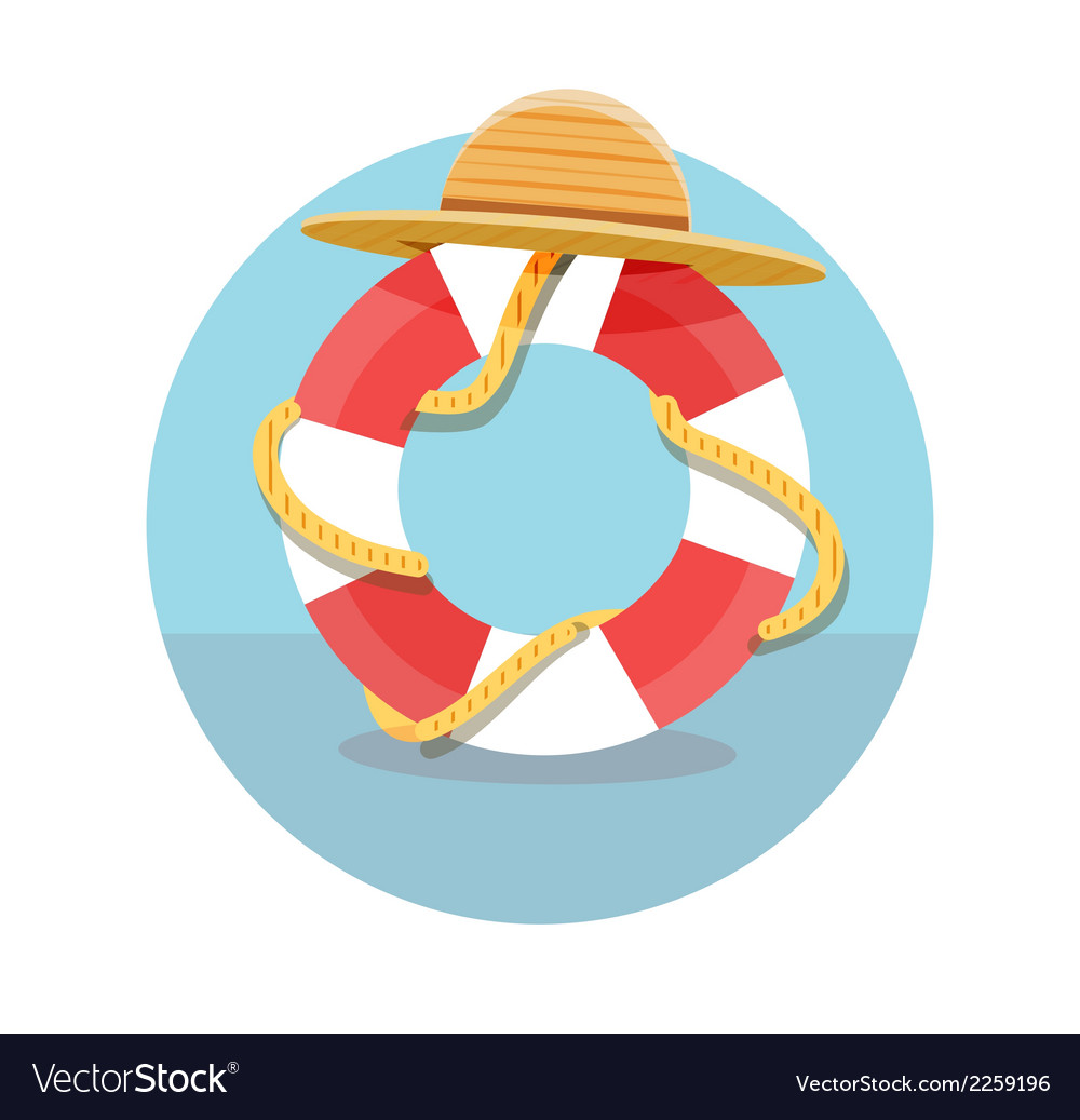 White lifebuoy with red stripes and rope vector | Price: 1 Credit (USD $1)