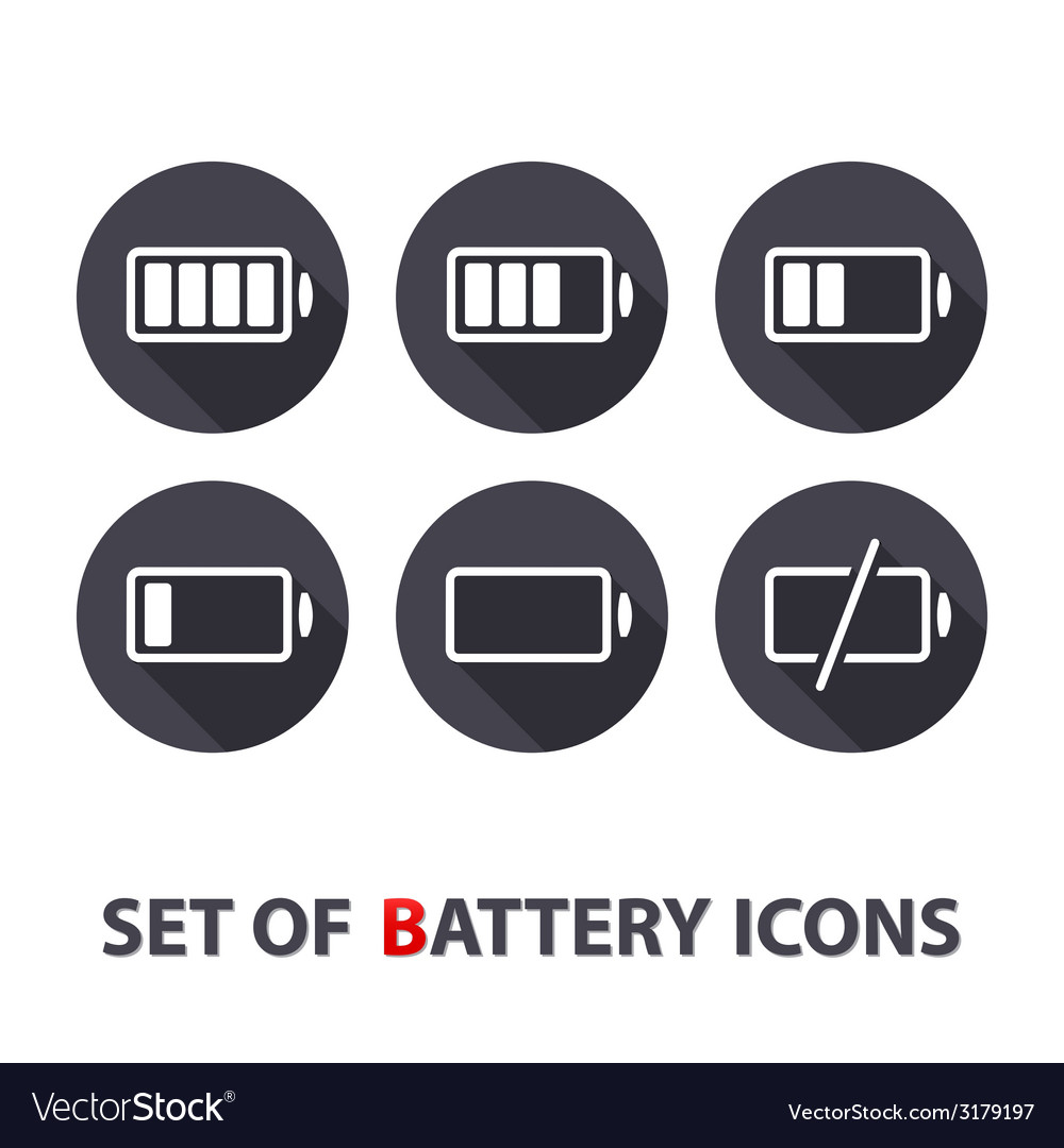 The battery icons vector | Price: 1 Credit (USD $1)