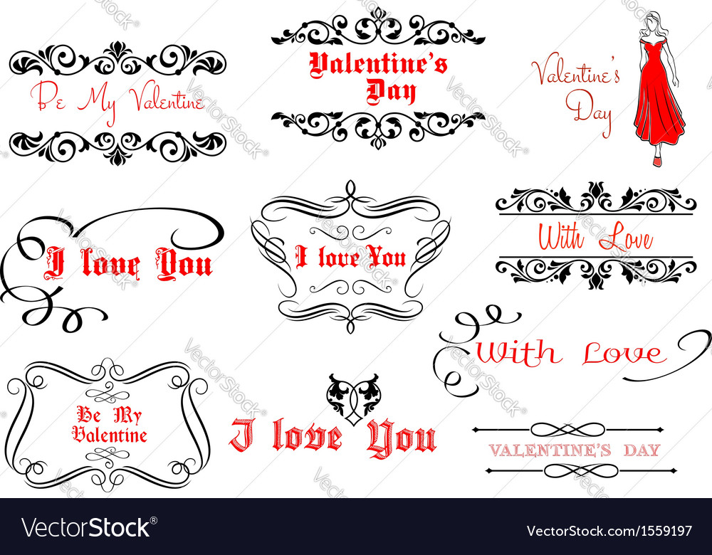 Calligraphic elements for valentines day design vector | Price: 1 Credit (USD $1)