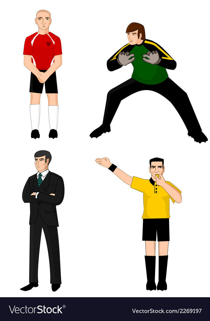 Collection of main football characters vector | Price: 1 Credit (USD $1)