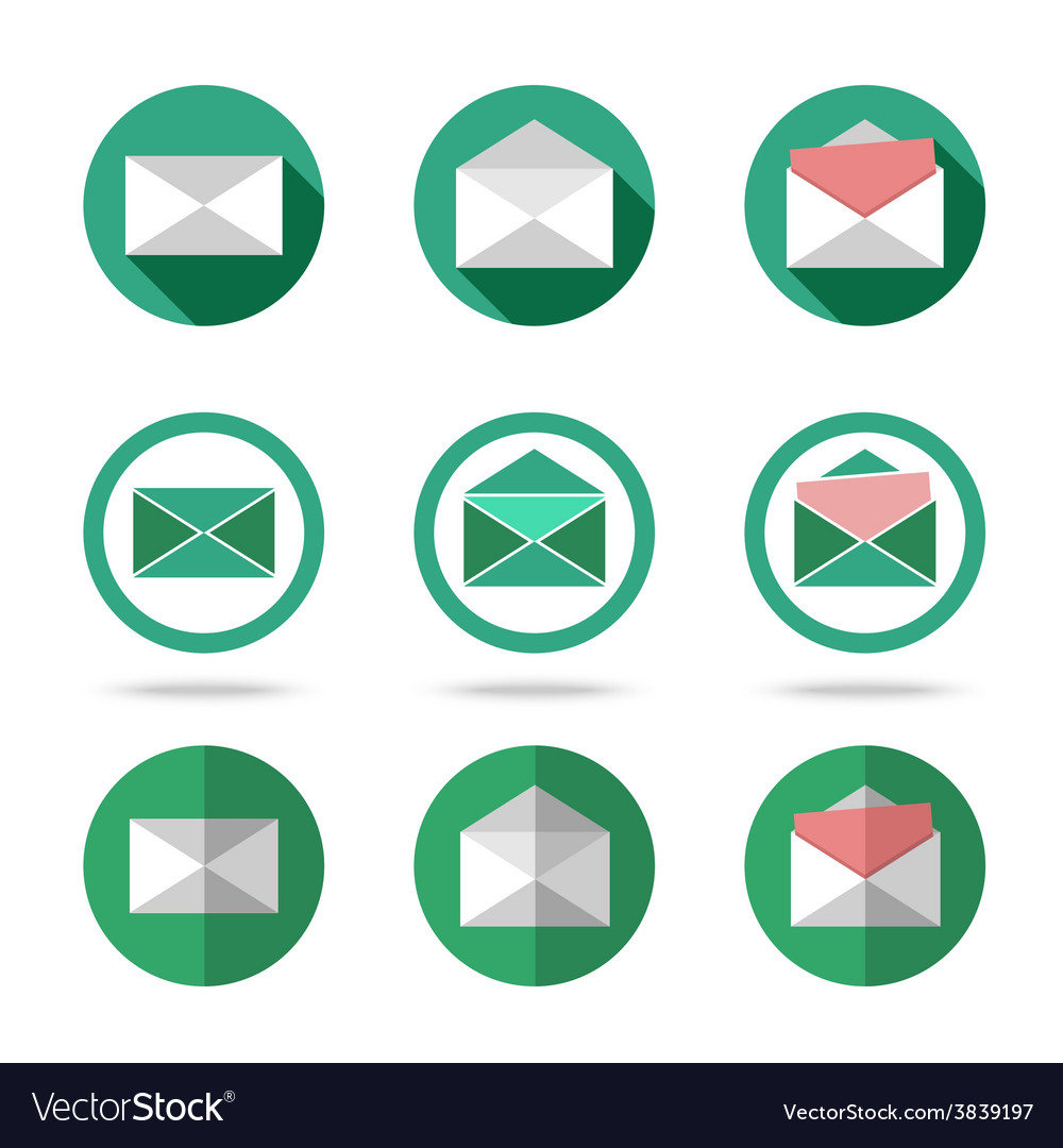 Flat letters icons set - closed opened with vector | Price: 1 Credit (USD $1)