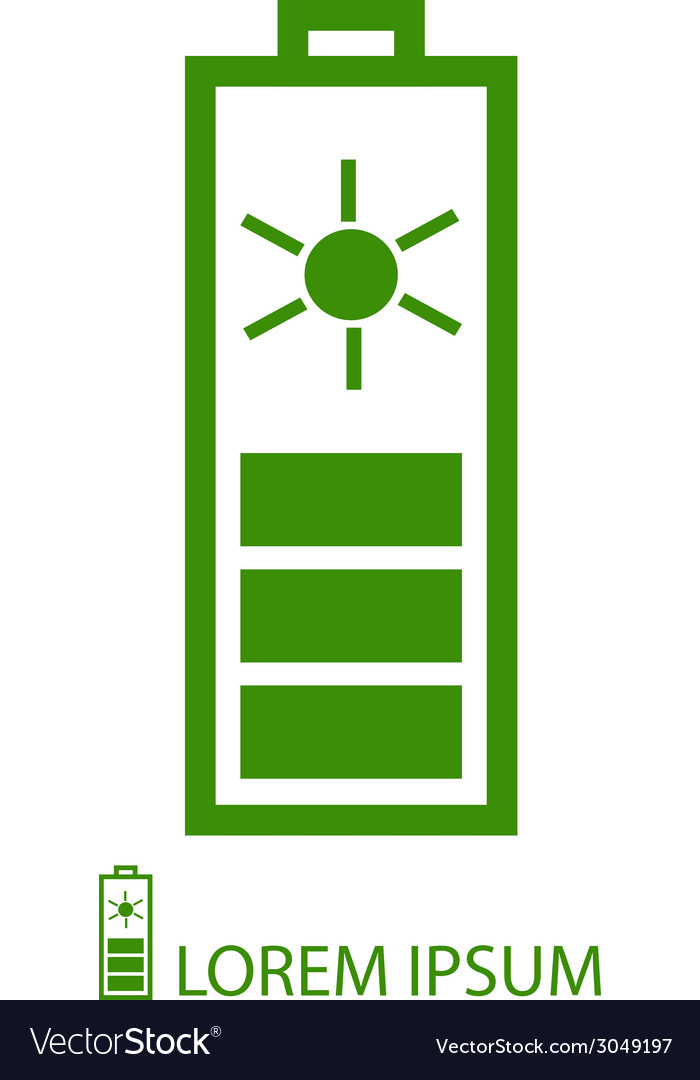 Green solar battery vector | Price: 1 Credit (USD $1)