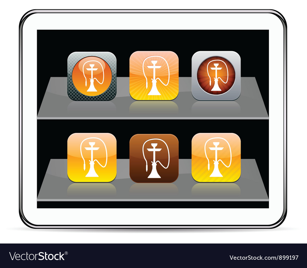 Hookah orange app icons vector | Price: 1 Credit (USD $1)