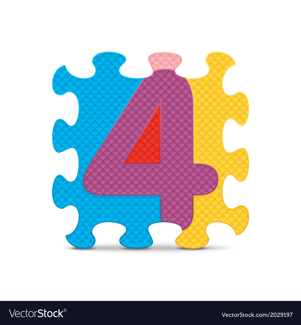 Number 4 written with alphabet puzzle vector   Price: 1 Credit (USD $1)