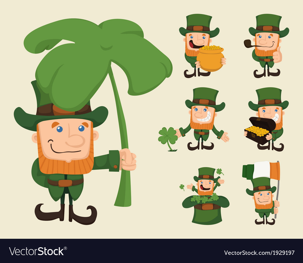 Set of leprechaun characters poses vector | Price: 1 Credit (USD $1)