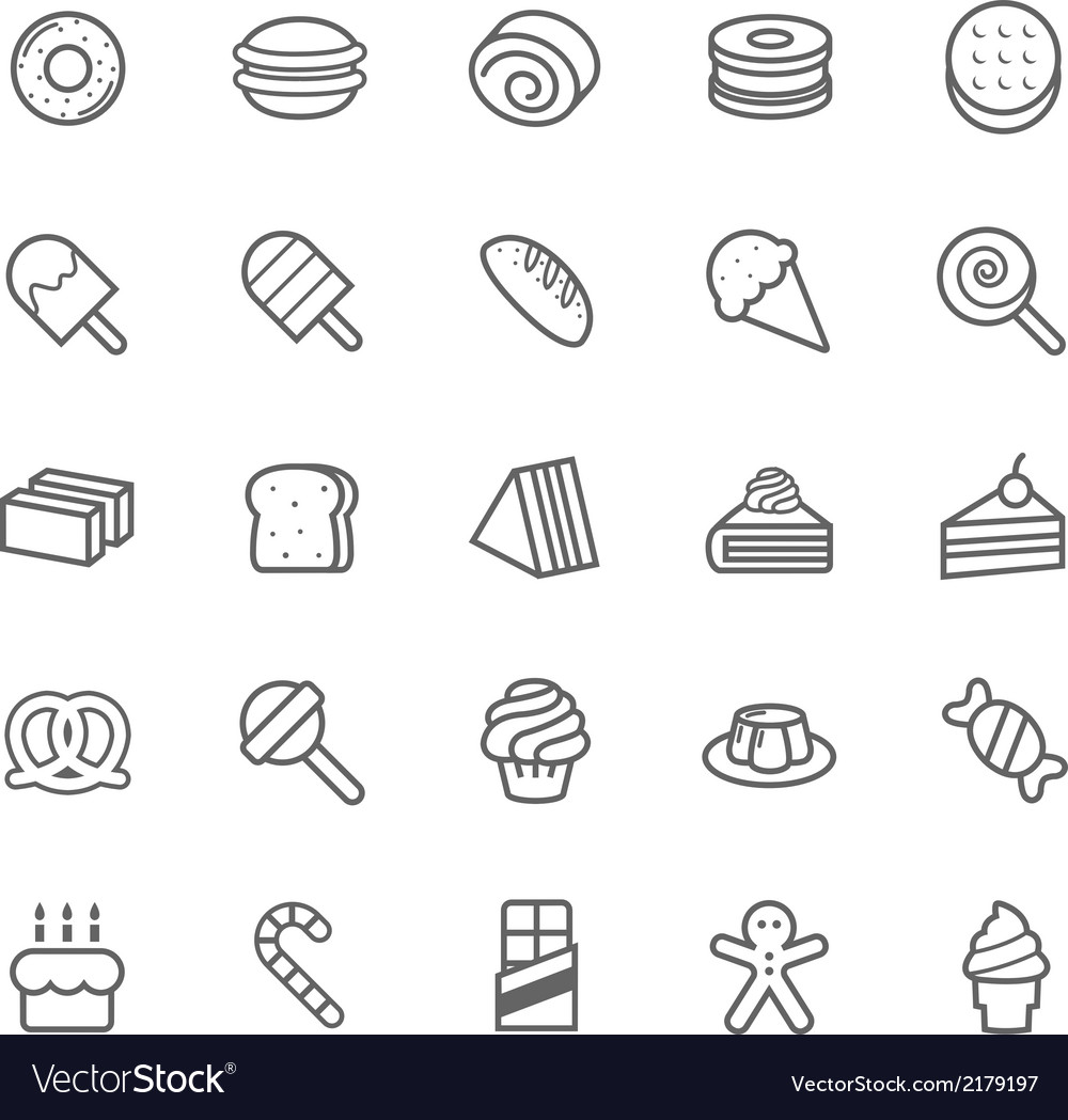 Set of outline stroke dessert and sweet icon vector | Price: 1 Credit (USD $1)
