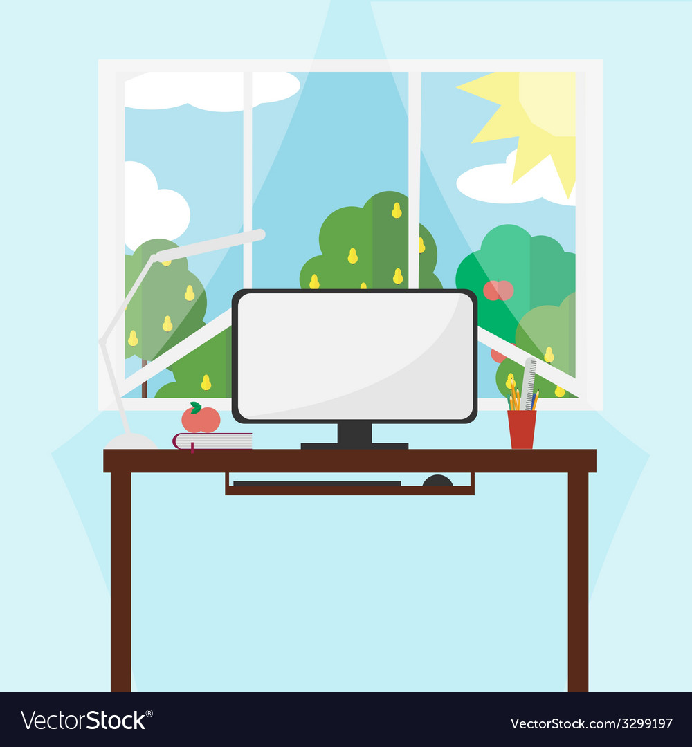 Workplace - style flat vector | Price: 1 Credit (USD $1)
