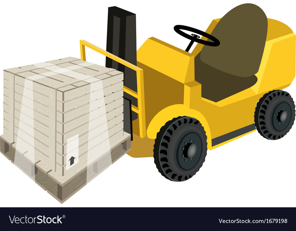 A forklift truck loading a shipping box vector | Price: 1 Credit (USD $1)