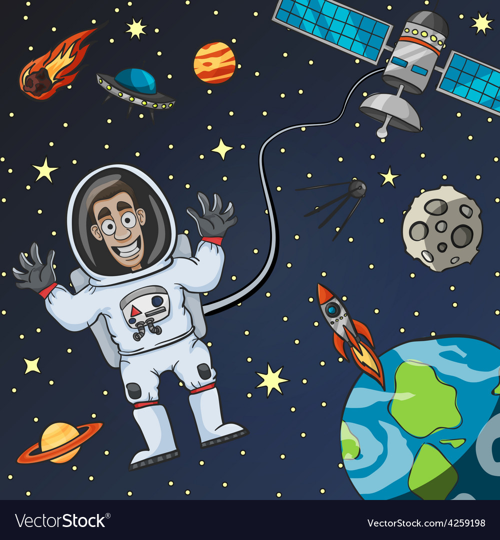 Astronaut in space vector | Price: 1 Credit (USD $1)