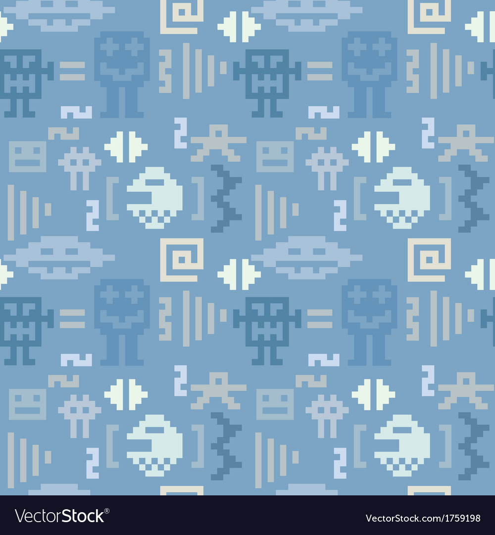 Blue denim pattern with pixel monsters vector | Price: 1 Credit (USD $1)