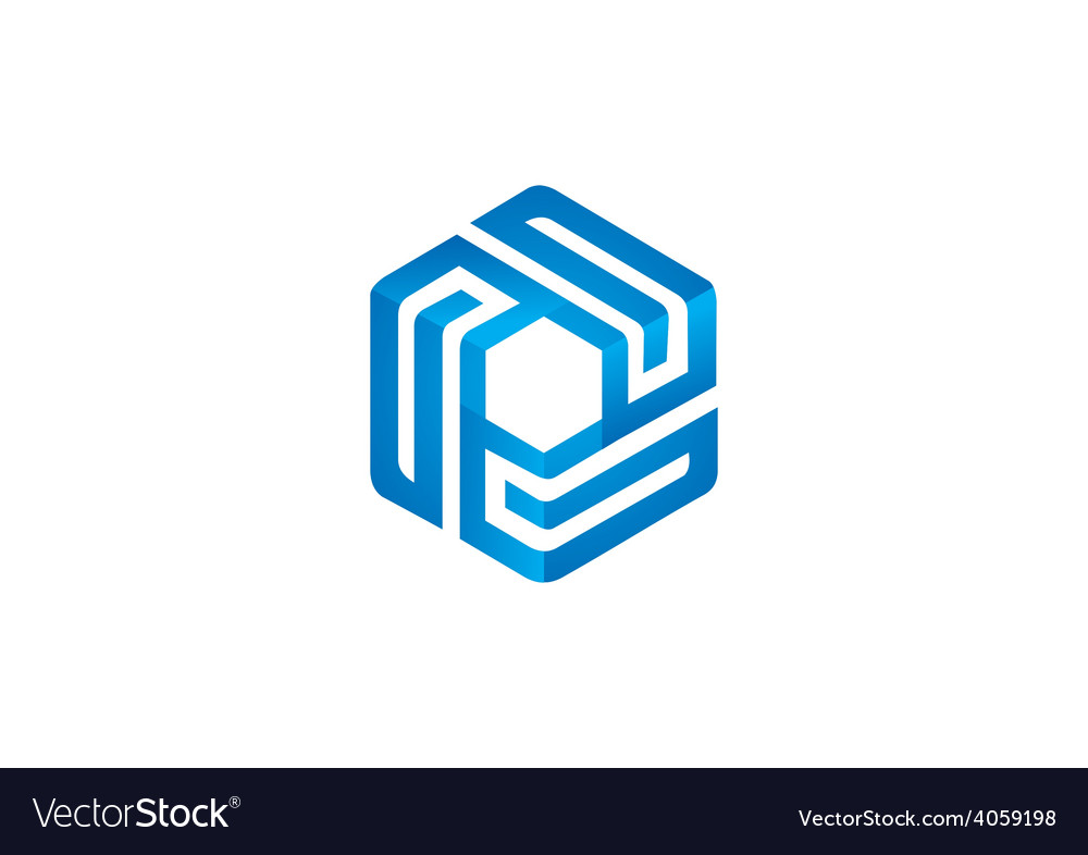 Cube geometry line 3d logo vector | Price: 1 Credit (USD $1)