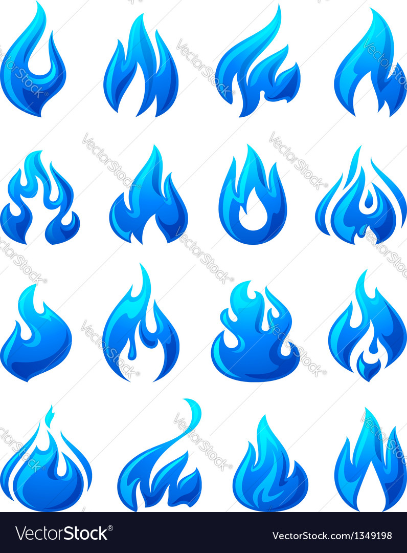 Fire flames set 3d blue icons vector | Price: 1 Credit (USD $1)