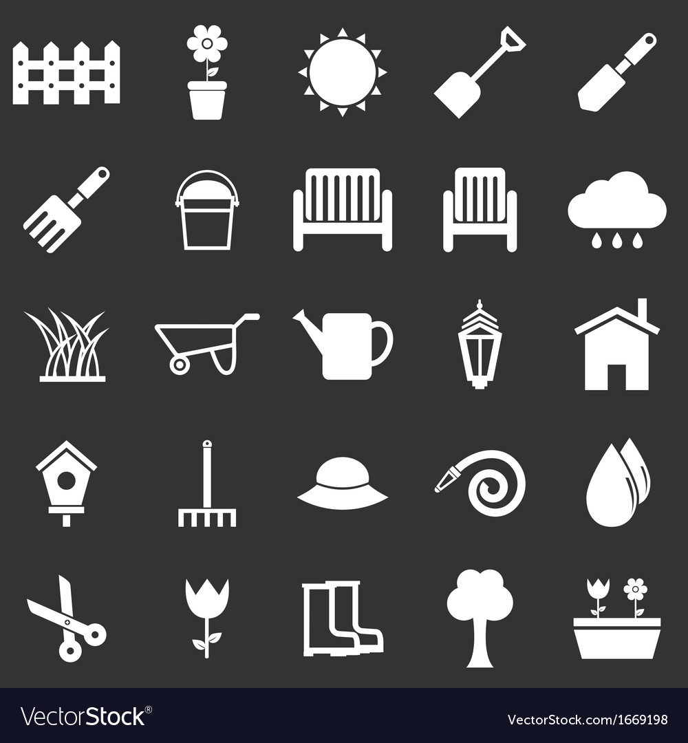 Gardening icons on black background vector | Price: 1 Credit (USD $1)