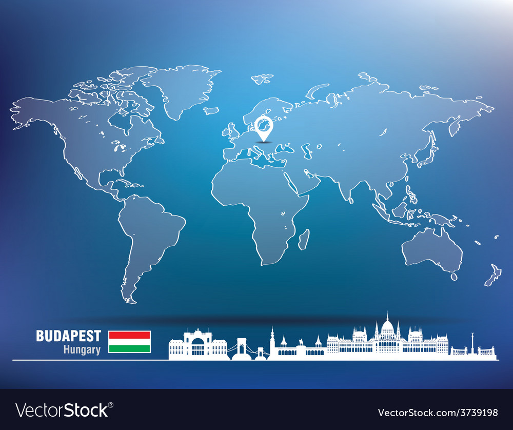 Map pin with budapest skyline vector | Price: 1 Credit (USD $1)